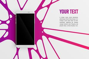 Colorful smartphone template for advertising, vector illustration
