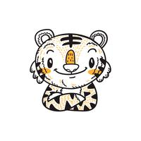 cute little tiger cartoon doodle vector