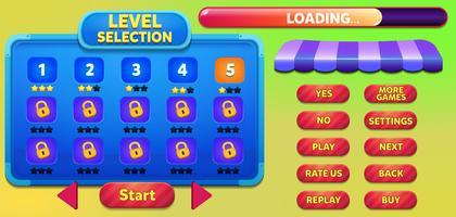 Nivåval spel menyscen med knappar, laddningsbar och stjärnor