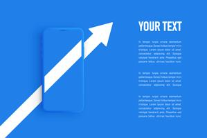 Blue matte smartphone template, vector illustration