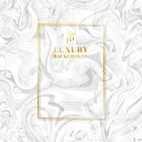Template golden rectangle frame on white marble background and texture. Luxury style.