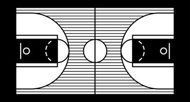 Vector illustration of a hardwood basketball court