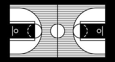 Vectorillustratie van een basketbalveld hardhouten