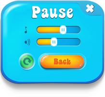 Pause menu scene pop up with sound music and buttons