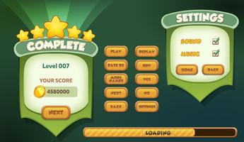 Level complete and settings menu pop up with stars score and sound music buttons