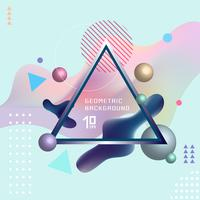 Abstract template colorful fluid shapes and geometric poster cover design background with triangle lable. You can use for place cards, banners, flyers, presentations and annual reports.