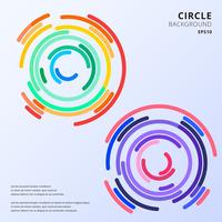 Abstract colorful circles maze rounded corners background with space for text.