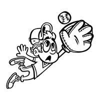 Giocatore di baseball Fumetto di vettore del bambino