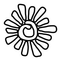 Stylized Sun in Inky Painted Tribal Style vector icon