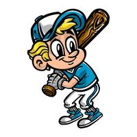 Baseball Player Kid vector cartoon