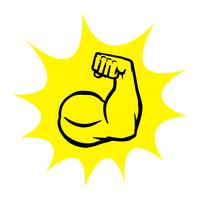 Strong Bodybuilder Biceps Flex Arm Vector Icon