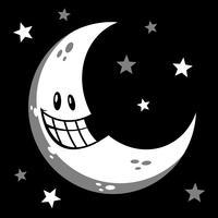 Månen leende tecknad vektor illustration