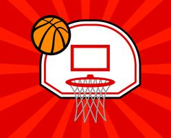 Cartoon vector basketball and net