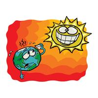 Cartoon Sun and Earth