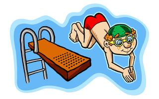 Vector illustration of a happy kid diving off a diving board.