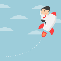 Business competition. Businessman sitting on rocket. Business growth concept.