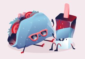 Zomer eten schattig karakter vectorillustratie