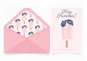Carte de voeux de crème glacée rose de vecteur