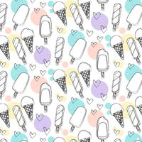 Vector Hand Drawn Ice Cream Pattern