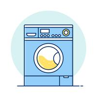 Fine Line art Washing machine for web icons vector