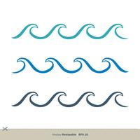 conjunto onda água vetor logotipo modelo ilustração Design