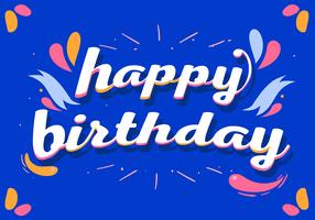 Happy Birthday Typography in Blue Background