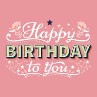 Happy Birthday Typography Lettering with Stars and Flourish Background