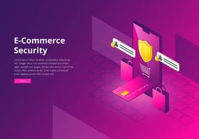 E-handel Cyber Security Interface Template Vector
