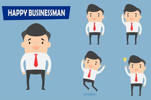 Happy businessman character.