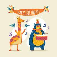 Sats av söta djur för grattis på födelsedagsdesign