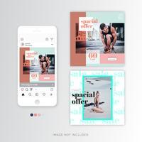 Summer sale social poster template vector