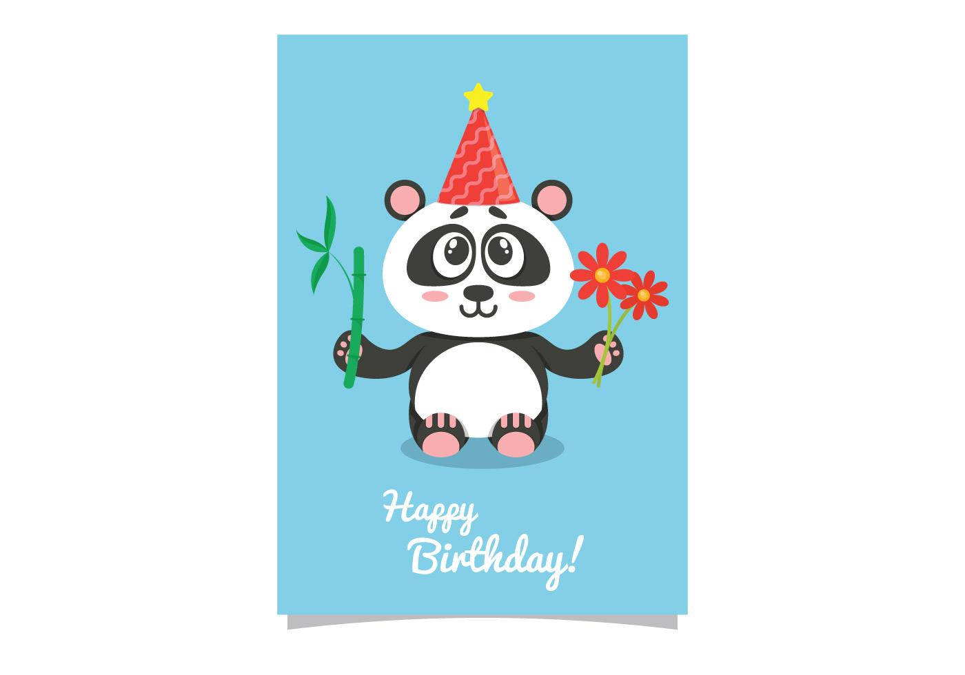 Happy birthday cute panda - Download Free Vectors, Clipart Graphics &  Vector Art