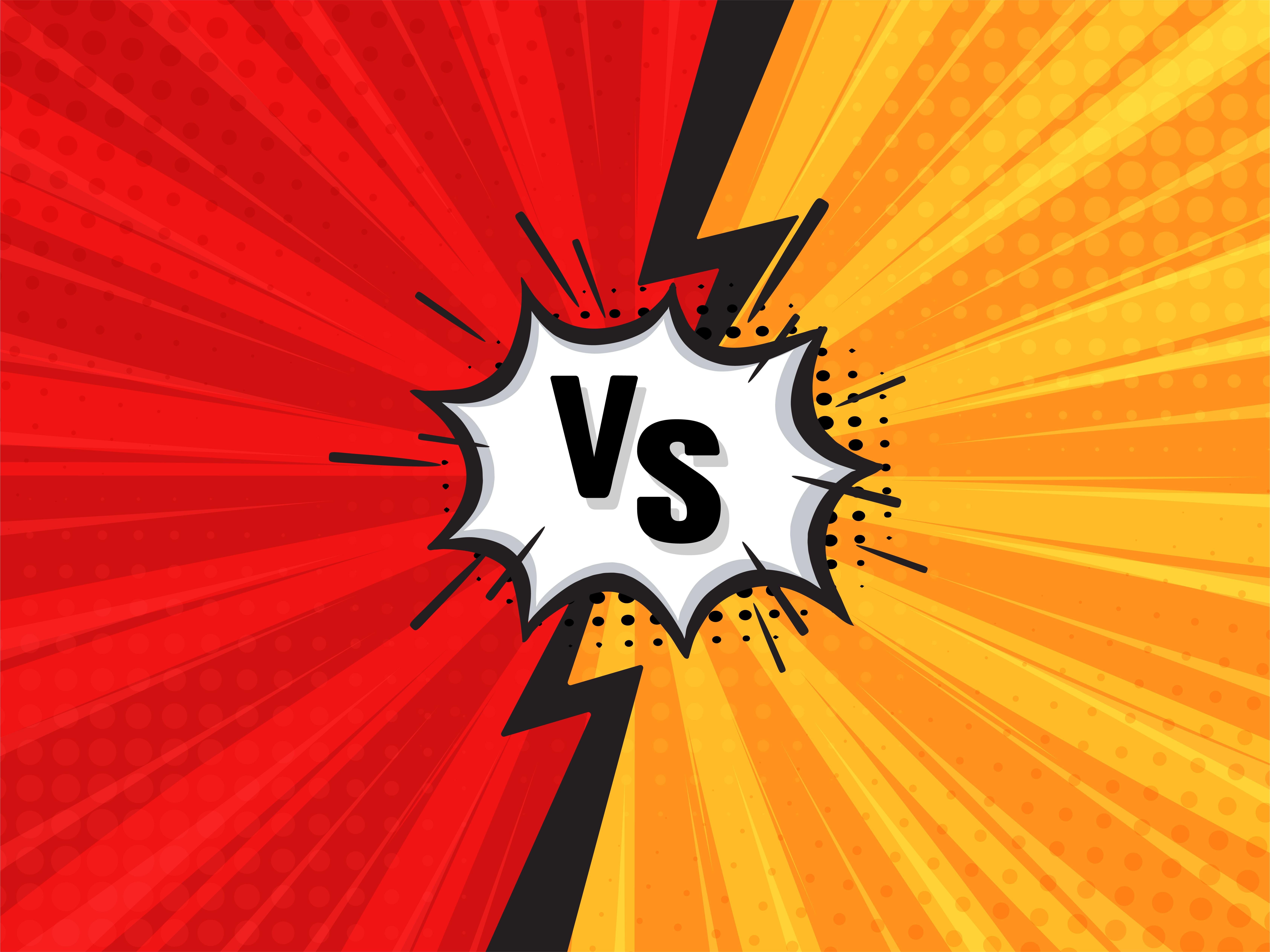 Comic Fighting Cartoon Background Red Vs Yellow Vector Illustration Download Free Vectors Clipart Graphics Vector Art