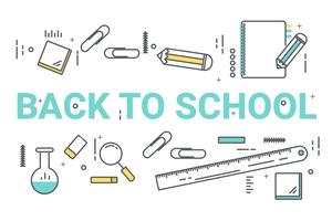 Welcome back to school concept. Thin line art style design for education idea theme website banner.