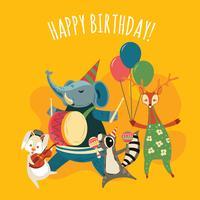 Gullig musik djungel djur tecknad illustration för grattis på födelsedagsfest