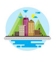 Flaches Design Urban Stadtlandschaft mit Berg der Umwelt, grüne Energie. Vektor-Illustration.