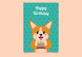 Cadeau d'anniversaire de chien mignon vecteur