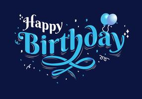 Happy Birthday Typography in Dark Blue Background