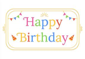Happy Birthday Typography in White Background