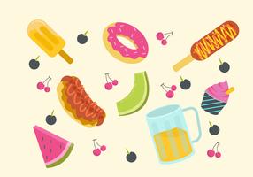 Colección de alimentos de verano ilustración plana vector