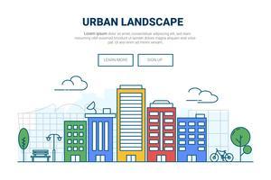 Edificio del paisaje en concepto de la ciudad. Diseño para el sitio web de la página de destino del tema urbano urbano. Thine Line art.