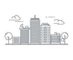 Thin line art style. design for urban cityscape idea theme website banner.