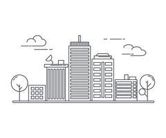 Estilo de arte de líneas finas. Diseño de banner de sitio web de tema de idea de paisaje urbano urbano.