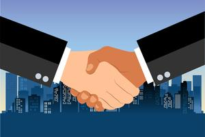 Shaking hands flat design concept. Handshake, business agreement. partnership concepts. Two hands of businessman shaking. Vector illustration on blue urban city background.