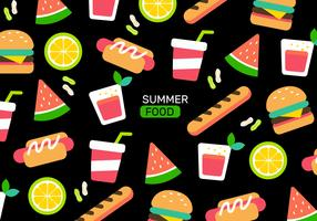 Colorful Summer Food Pattern Vector Illustration