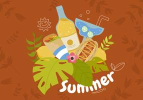 Summer Food With Tropical Background Vector Illustration
