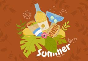Alimento di estate con l'illustrazione tropicale di vettore del fondo