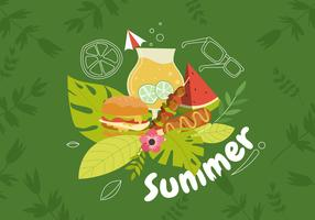 Sommarmat Vit Tropisk Backgroun Vector Illustration