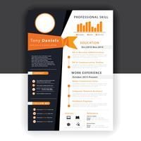 abstract orange resume template vector