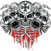 aggressives Wappen mit Totenkopf